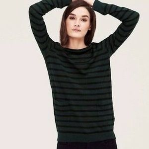 Ann Taylor LOFT L Green Black Striped Wool Sweater